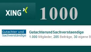1000 Mitglieder in unserer XING Gruppe